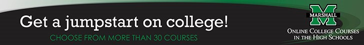 Get a jumpstart on college! Choose from more than 30 courses! Marshall University online college courses in the high schools,